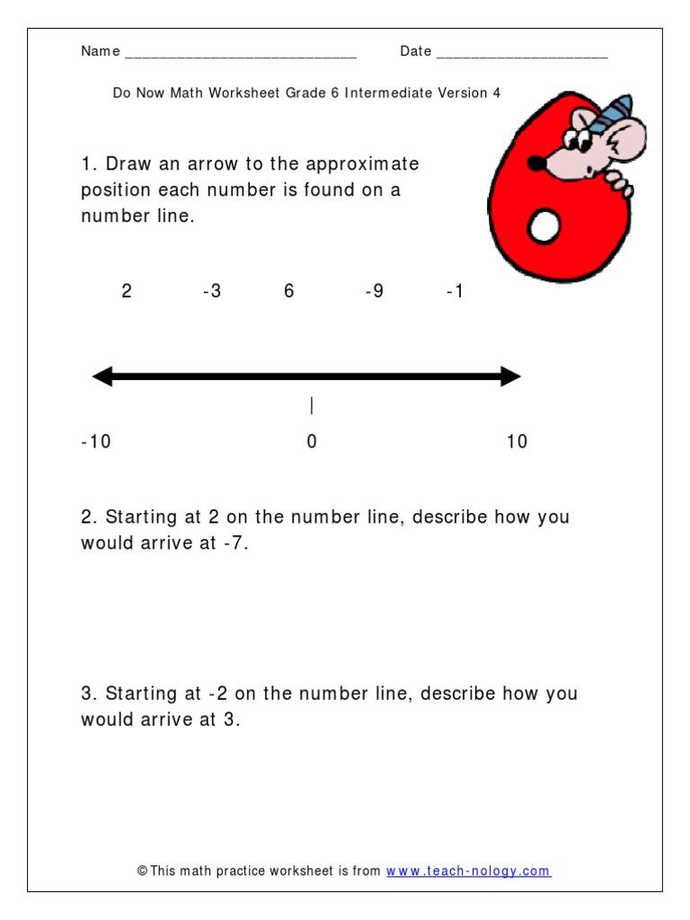 Workbooks teach-nology.com worksheets : Number Line