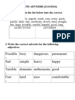Exercises on Adjectives and Adverbs