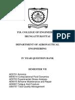 IVth(7th sem) year Question bank-B.E Aeronautical