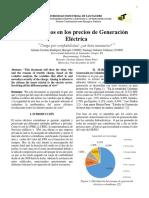 Incrementos en Los Precios de Generación Eléctrica en Colombia