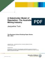 A Stakeholder Model of Reputation the Australian Mining Industry