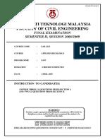 Engineering Mechanic Sem 1 Session 0809