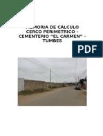 Memoria de Cálculo Del Cerco Perimetrico Del Cementerio Tumbes