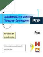 Aplicaciones Sig en El Ministerio de Transportes y Comunicacion
