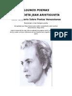 Algunos Poemas de La Poeta Jean Aristiguieta