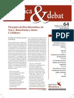 Bioètica & Debat Principios de Ética Biomédica Beauchamp-Childress