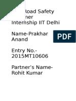 NSS Road Safety Internship IIT Delhi