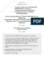 Federal Savings and Loan Insurance Corporation, as Receiver for Sunrise Savings and Loan Association, a Federal Savings and Loan Association v. Falls Chase Special Taxing District, George Suess, Clarence E. Stewart, Maxine L. Terrell, Pat Whittaker, Mary Ann Gast, Defendants/intervenors-Appellants, 983 F.2d 211, 11th Cir. (1993)