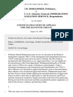 Hamid B. Mohammed v. John Ashcroft, U.S. Attorney General, Immigration and Naturalization Service, 261 F.3d 1244, 11th Cir. (2001)