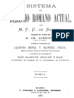 Savigny. Sistema Del Derecho Romano T I
