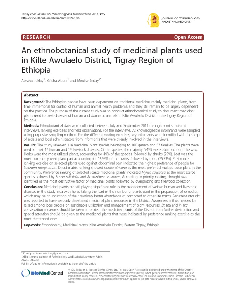 An ethnobotanical study of medicinal plants used in Ethiopia