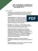 Informe Sobre La Revisión y Diagnóstico Para Mejorar El Programa de Edición Del Programa de Tv