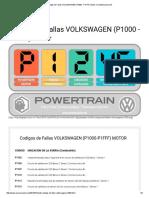 Codigos de Fallas VOLKSWAGEN (P1000 - P1FFF) Motor _ AreaMecanica