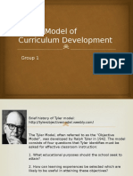 Tyler s Model of Curriculum Development