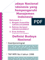 Budaya Nasional Indonesia Yang Mempengaruhi Manajemen Indonesia