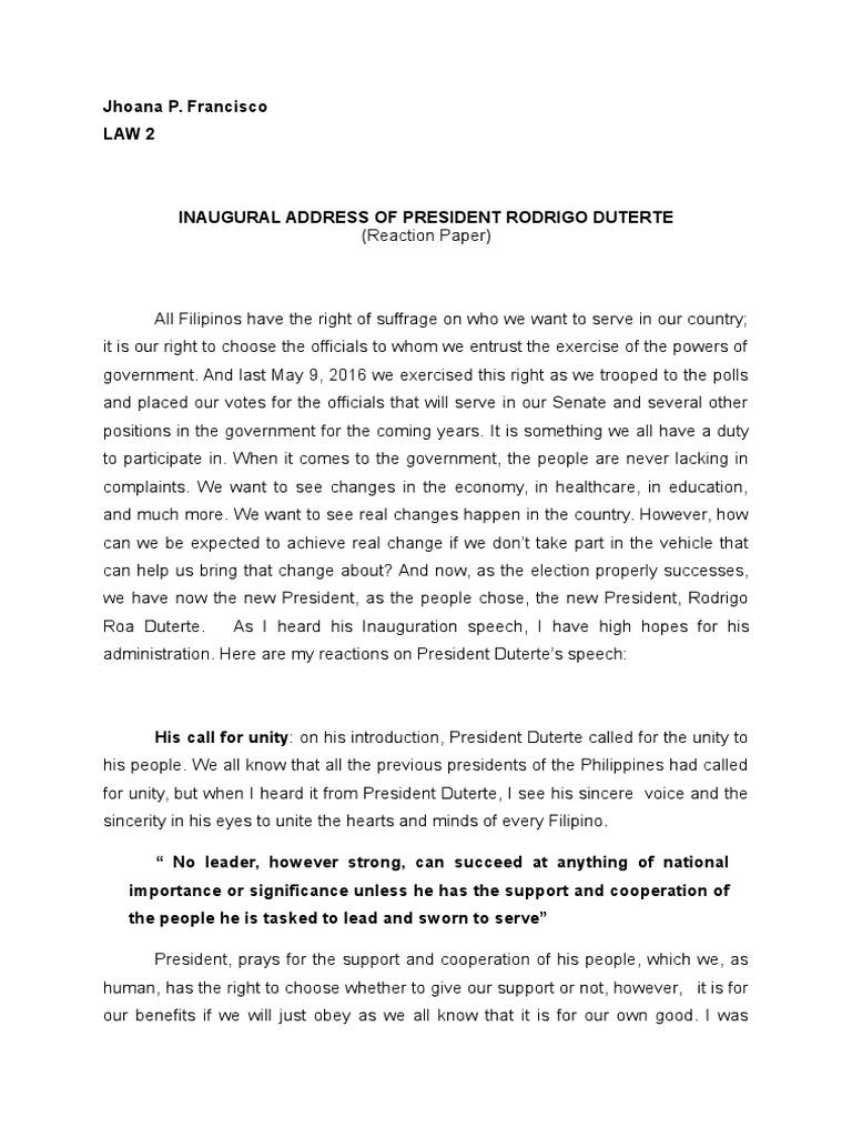 Reaction Paper   Rodrigo Duterte   Philippines