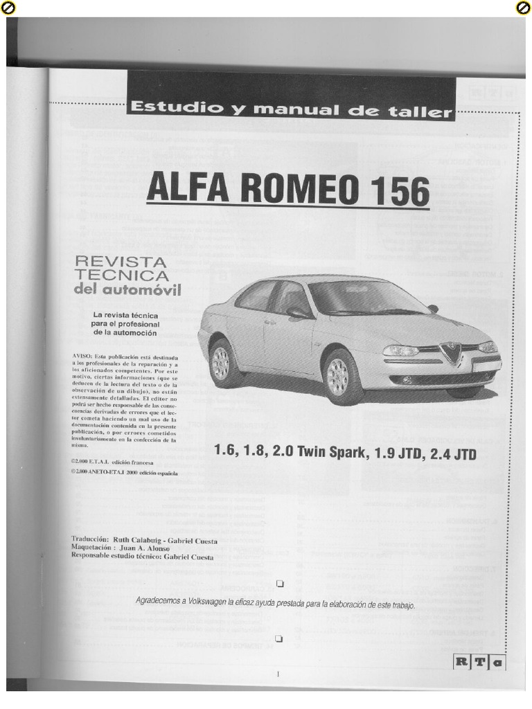 AlfaRomeo 156 Manual de taller.pdf | Motor Vehicle Manufacturers |  Automotive Technologies