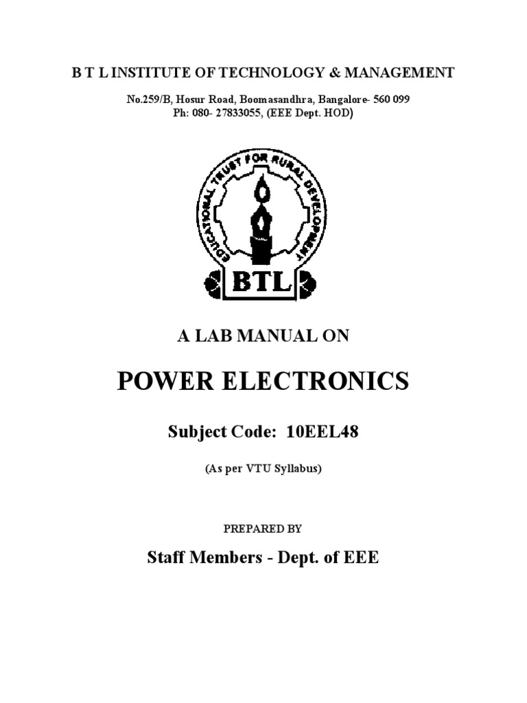 BTL 4th Sem Power Electronics Lab Manual | Power Inverter | Power  Electronics