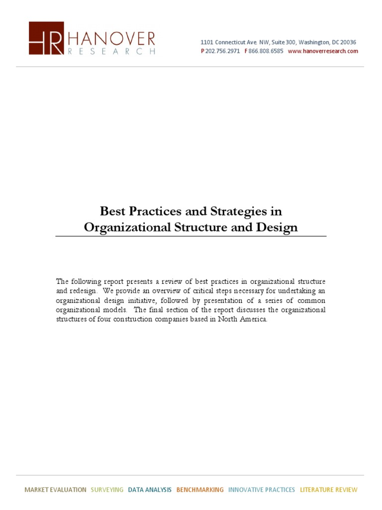 Best Practices and Strategies in Organizational Structure and Design