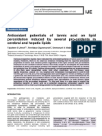 Antioxidant potentials of tannic acid on lipid peroxidation induced by several pro-oxidants in cerebral and hepatic lipids