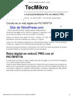 Circuito de Un Reloj Digital Con PIC16F877A - TecMikro