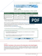 ERC Newsletter July 2016 - Calendar of ERC calls