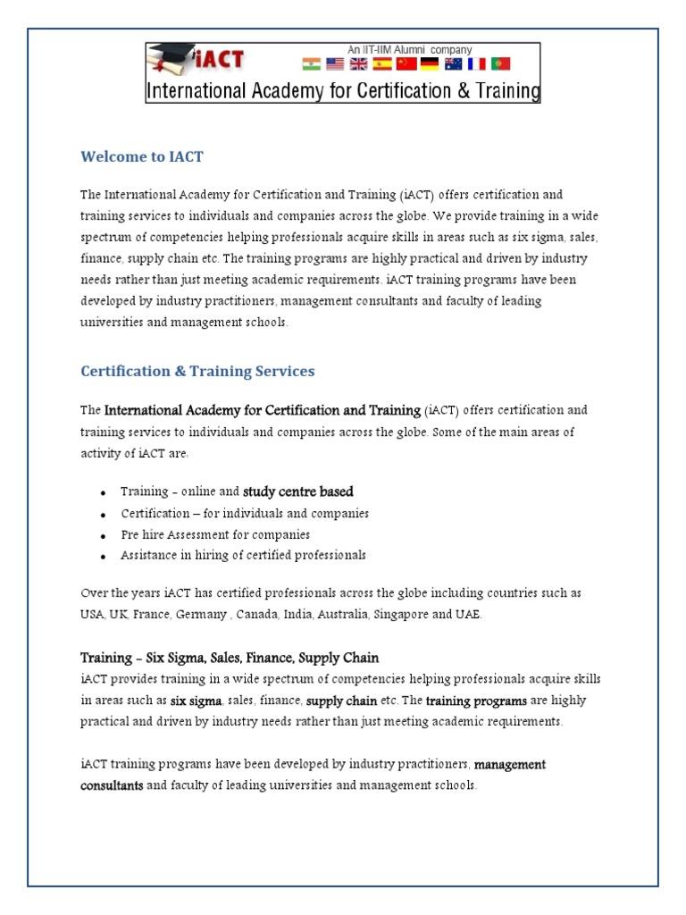 Iact Global Education 1 Professional Certification Technology