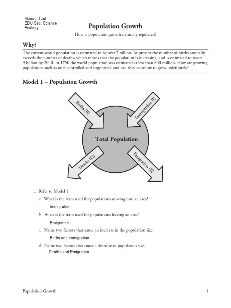 Population Dynamics Worksheet Answers - Worksheet List