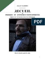 Kardec Allan Recueil de Prières Et d'Instructions Sprites Mjys