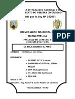Realidad Nacionaltrabajo de Investigacion Sobre La Educacion en El Peru