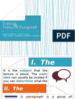 Topics of Paragraph