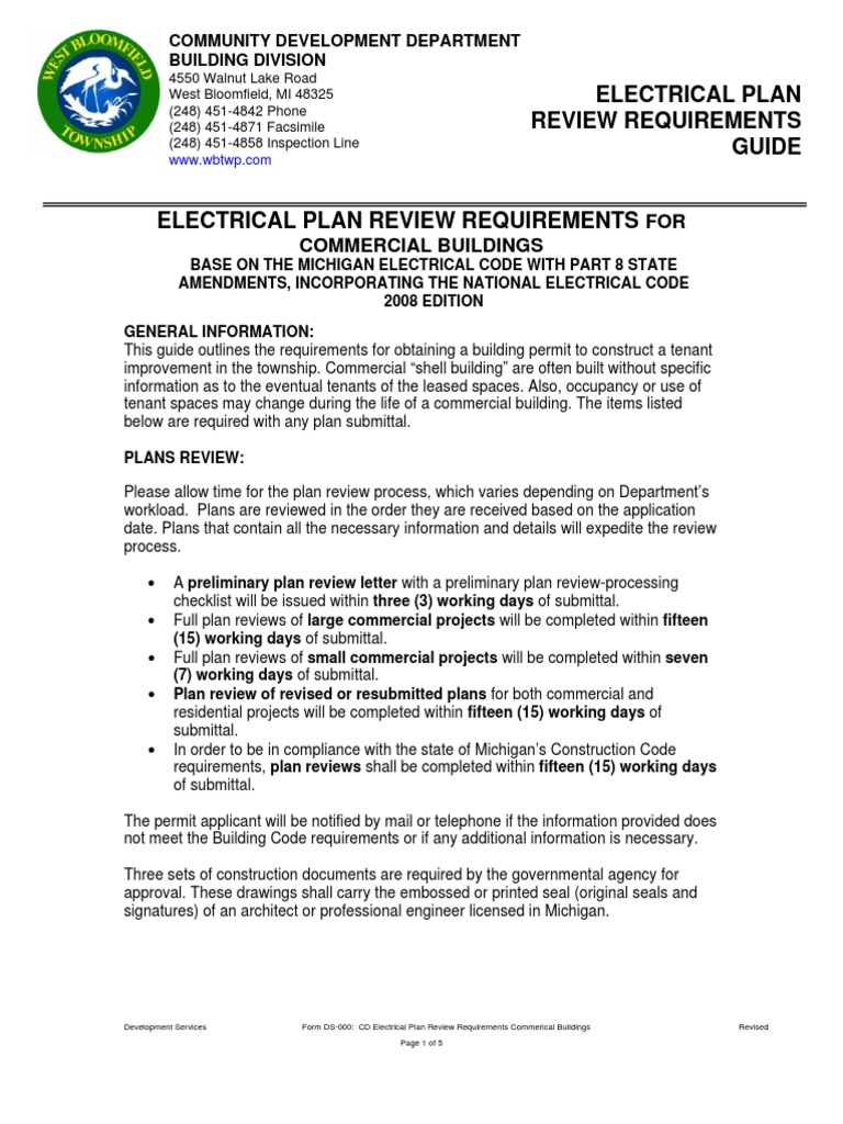 CD Electrical Plan Review Requirements Commerical Buildings | Electrical  Wiring | Electrical Components