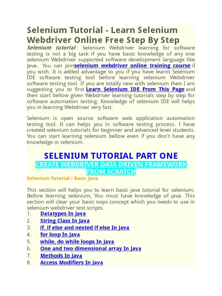 selenium tutorial.docx | selenium (software) | microsoft excel