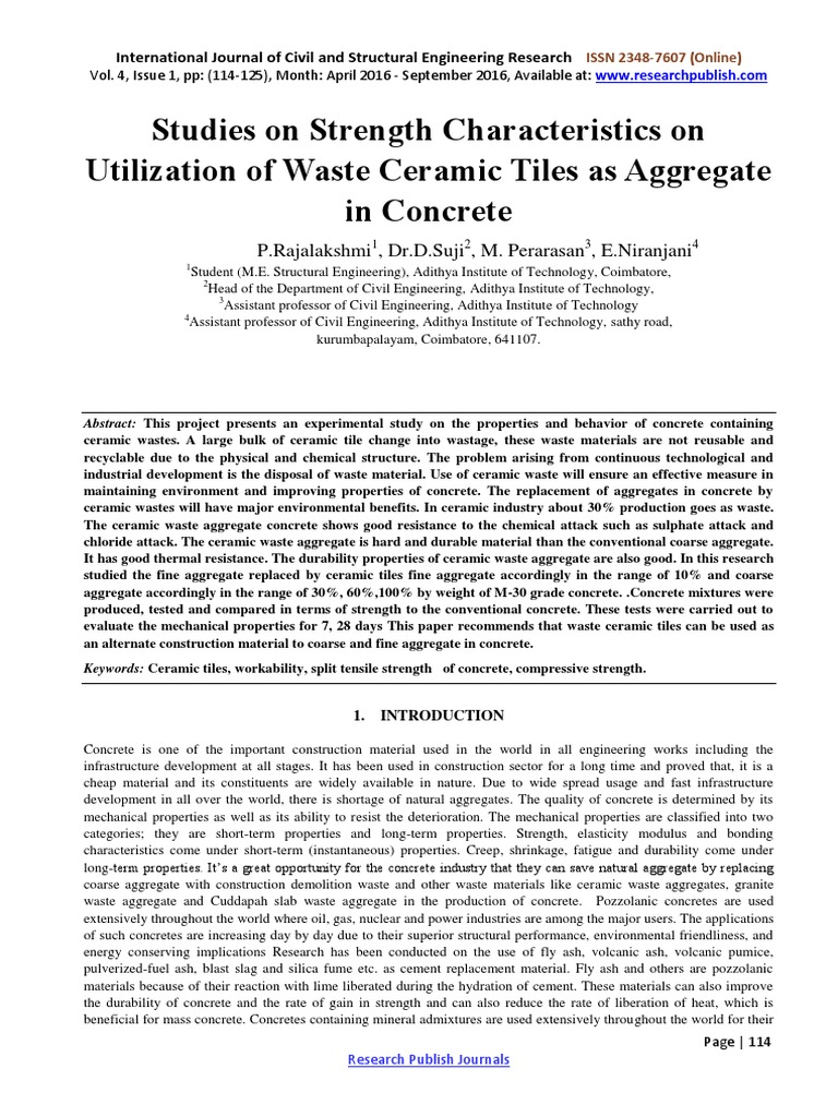 Studies On Strength Characteristics On Utilization Of Waste Ceramic