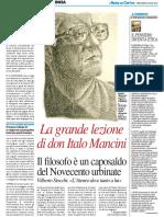 La grande lezione di don Italo Mancini - Il Resto del Carlino del 20 luglio 2016