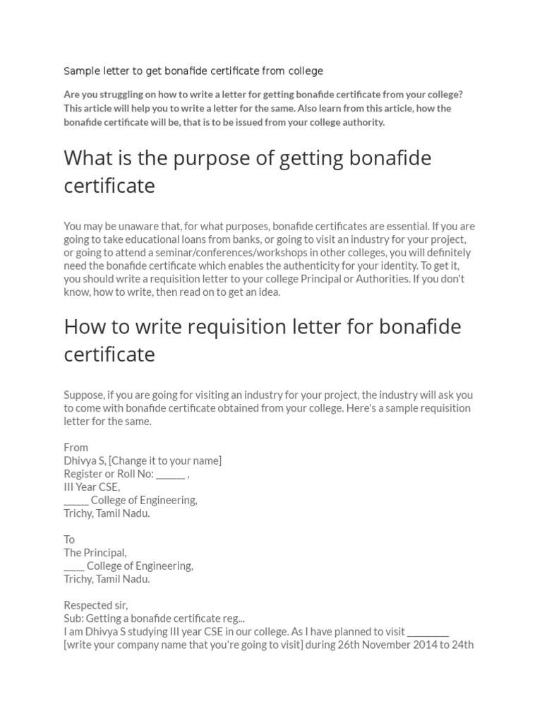 Sample letter to get bonafide certificate from collegedocx – Requisition Letter