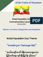 2016 World Population Dday - Minister Presentation