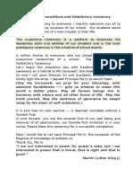 Script for Investiture cript for Investiture and Valedictory ceremonyand Valedictory Ceremony
