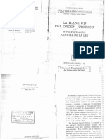 Cossio. La Plenitud Del Ordenamiento Jurídico y La Interpretación Judicial de La Ley