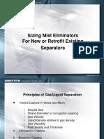7. Sizing Mist Eliminators for New and Retrofit Existing Separators