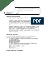 Programa Modelos y Estrategias Didacticas en La Educacion Fisica y El Deporte