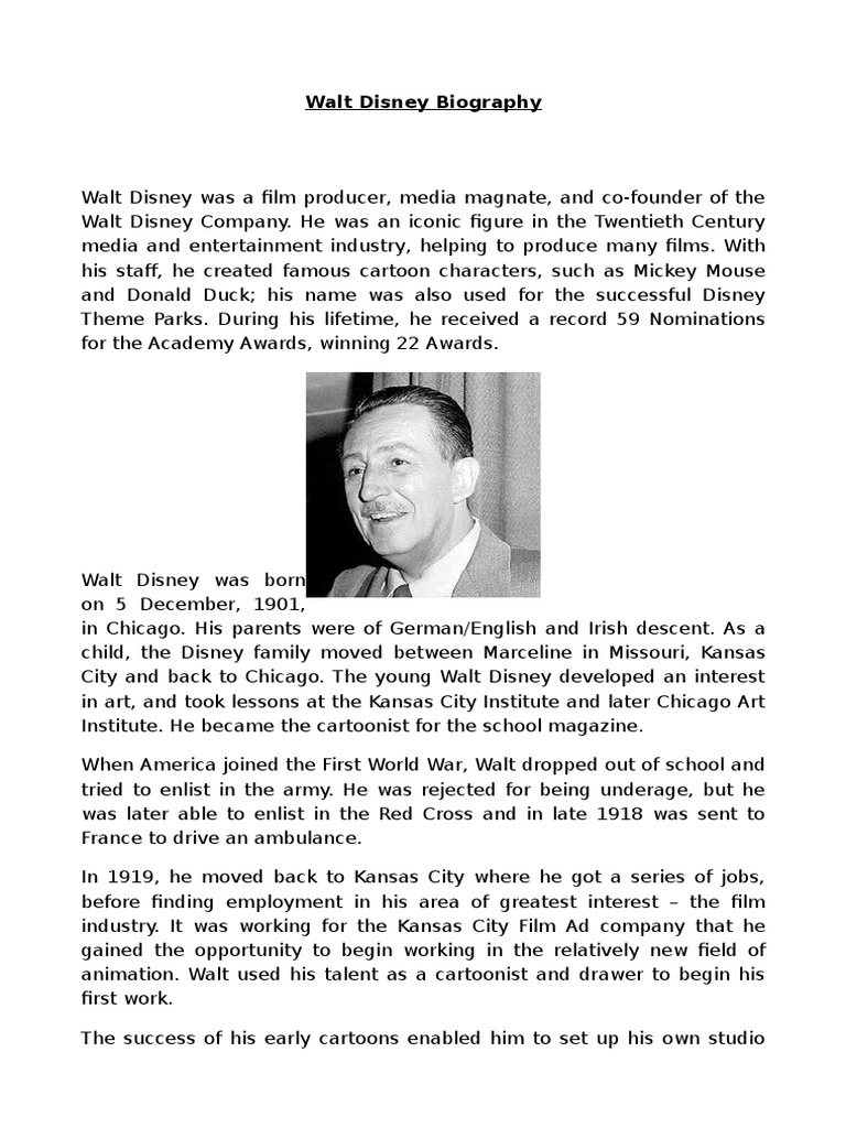 Walt Disney Biography Walt Disney Animation