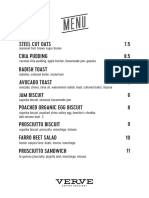 Verve Coffee Food Menu