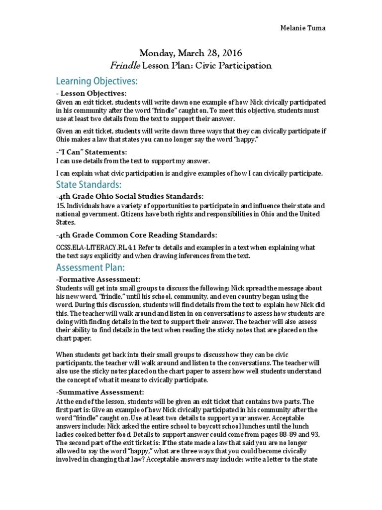 Frindle Lesson Plan Civic Participation Pedagogy Psychology