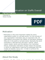 Impact of Motivation on Staffs Overall Performance