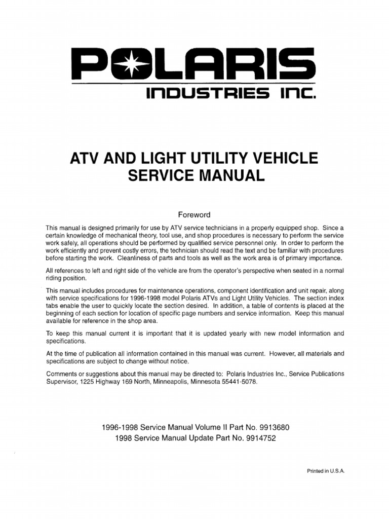 Toms 1996 - 1998 Polaris All Models Service Manual | Suspension (Vehicle) |  Motor Vehicle