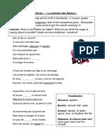 La Chanson Des Restos Worksheet