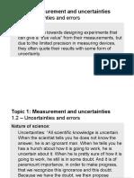 Topic 1.2 - Uncertainties and Errors