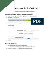 Backup y Restore ServiceDesk