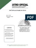 RO 790 Ley Organica de Ordenamiento Territorial, Uso y Gestion Del Suelo 05-07-2016